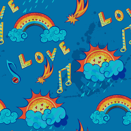 weather symbols: seamless pattern with love, music and weather symbols