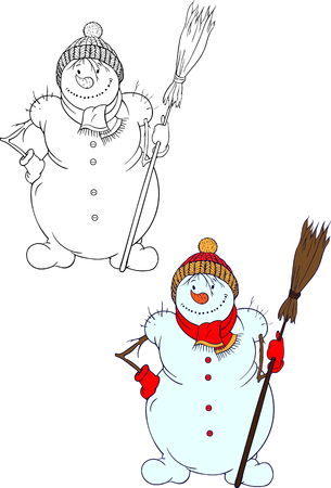 warmer: two isolated images of snowman with a broom Illustration