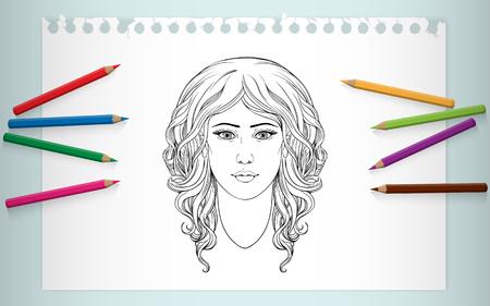 hair curly: Colorear del retrato de la chica con el pelo rizado
