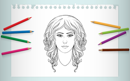 curly hair: coloring page of portrait of girl with curly hair Illustration