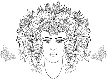 coloring lips: coloring page of portrait of girl with flowers in hair