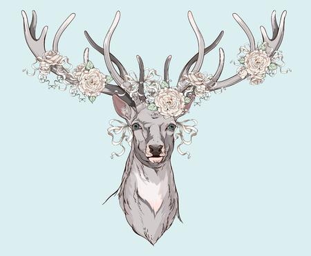 結婚式の装飾の角を持つ鹿