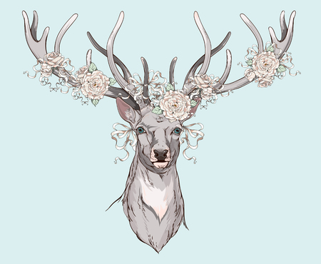 deer with wedding decorations on it's horns Vectores