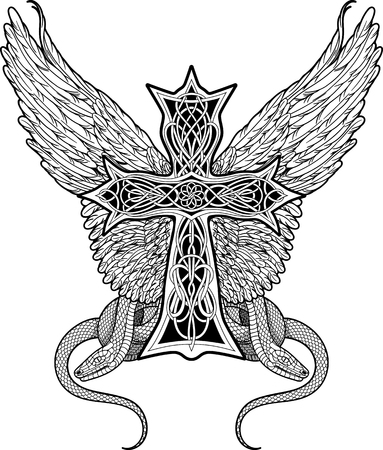 image of cross in celtic style with big wings and two snakes