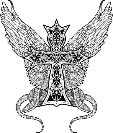 imagen de la cruz de estilo celta con grandes alas y dos serpientes
