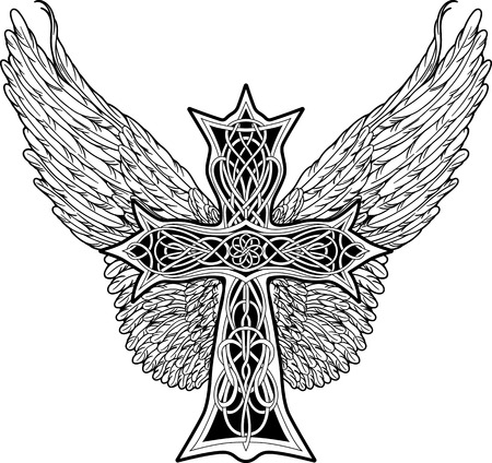 cross and wings: image of cross in celtic style with big wings