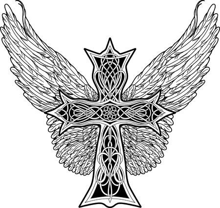 image de croix dans un style celtique avec de grandes ailes