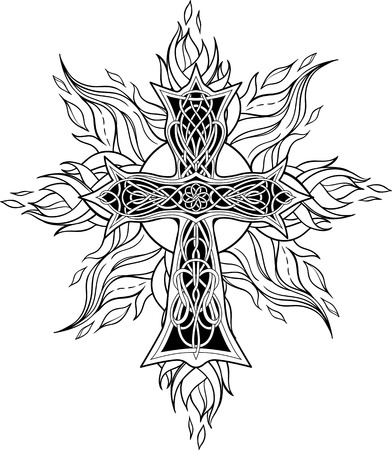 cross tattoo symbol: image of cross in celtic style with flames of fire