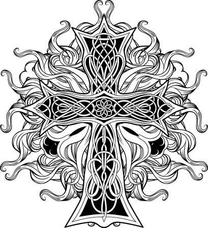 beeld van kruis in Keltische stijl met linten van het vuur