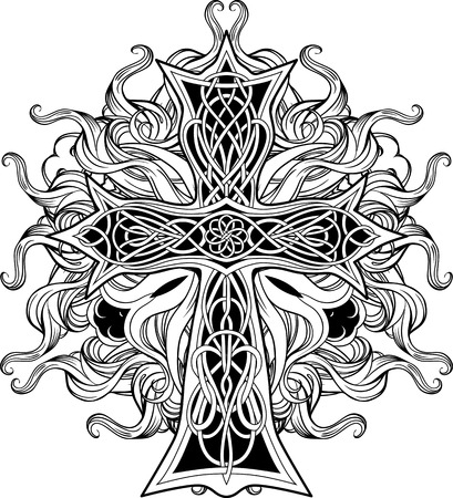 celtic: image of cross in celtic style with ribbons of fire