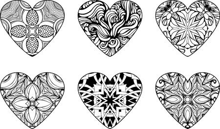 Satz von sechs Herzen mit floralen Mustern gefüllt
