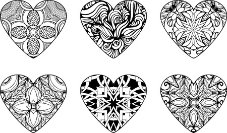 set of six hearts filled with floral patterns Illustration