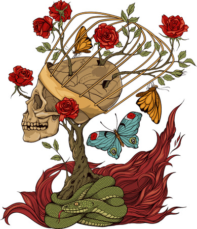t background: illustration with skull, bush of roses, snake and and flame