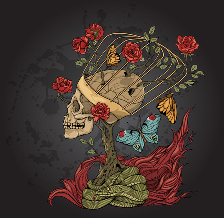 illustration with skull, bush of roses, snake and and flame. grey background