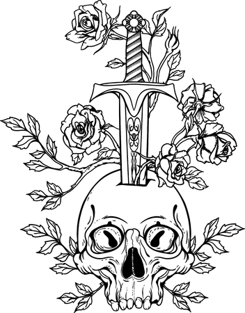 black and white illustration with skull stabbed by sword