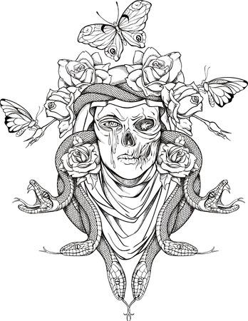 donna farfalla: illustrazione con la donna cranio, serpenti, farfalle e fiori