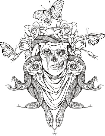 illustration with woman skull, snakes, butterflies and flowers Illustration
