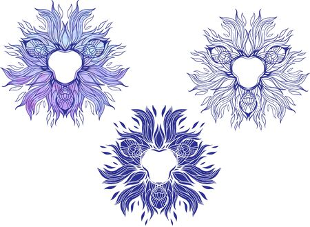 blue flames: mandala-style blue flames of fire with flowers