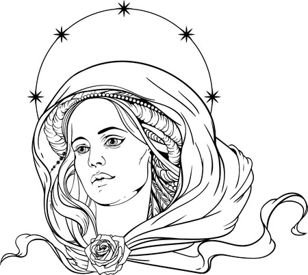 portrait of a woman wearing shawl and nimb of stars