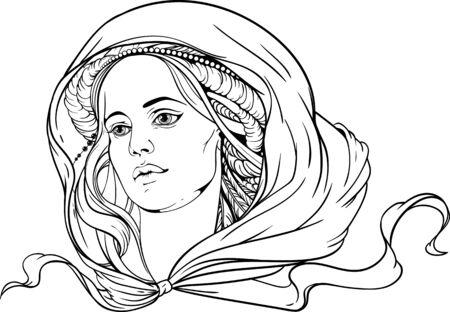 cabeza de mujer: retrato de una mujer el uso de pañuelos. en blanco y negro Vectores