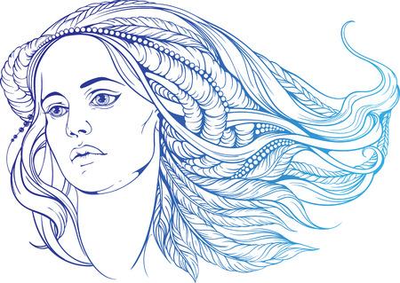 retrato de una mujer con el pelo al estilo hippie. en colores azules