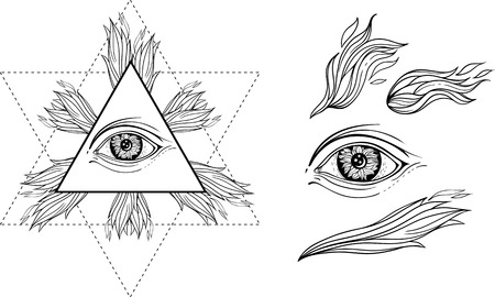 third eye: isolated images of eye, flames of fire, and occult star