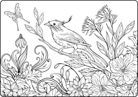 black branch: cloloring page with bird on a branch and lots of flowers and butterfly