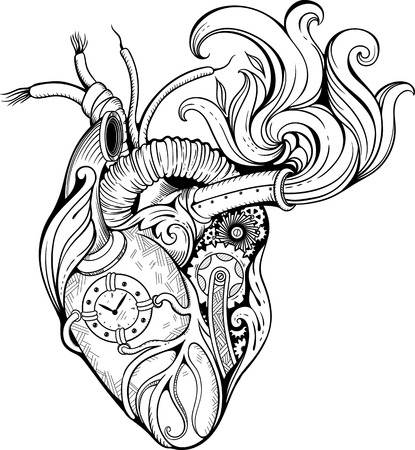 Image of heart in steampunk style. Black and white. Illustration