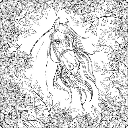 Coloring page with horse in the garden.