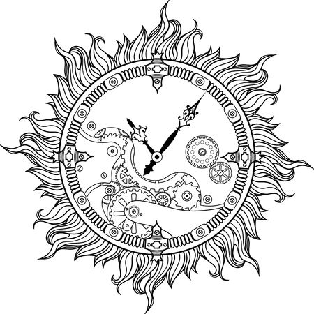 Image of wall clock with flames of fire. Vectores