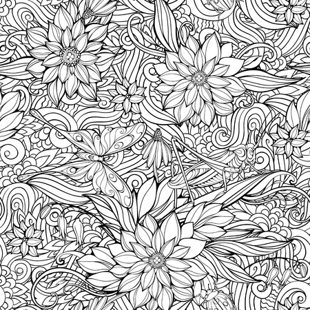 grasshoppers: Coloring page with seamless pattern of flowers, butterflies and grasshoppers.