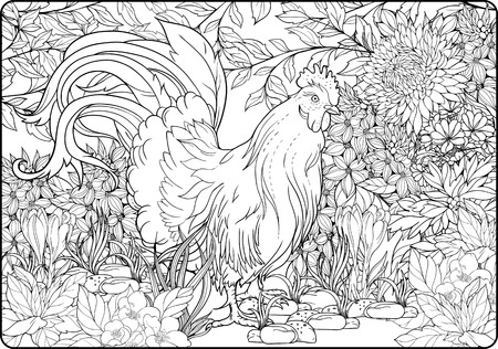 Coloring page with rooster in the garden.