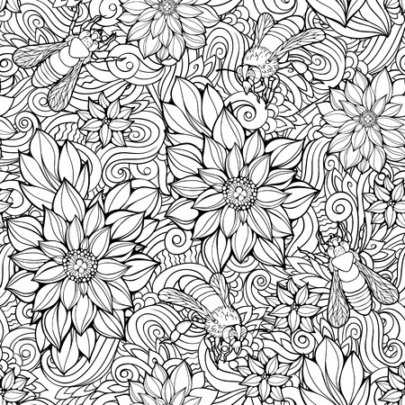 Coloring page with seamless pattern of flowers and bees.