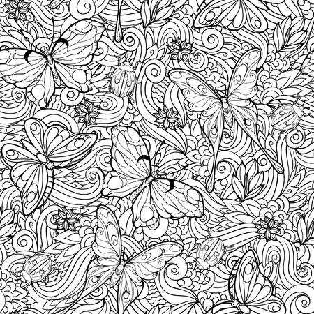 Coloring page with seamless pattern of flowers and butterflies. Иллюстрация