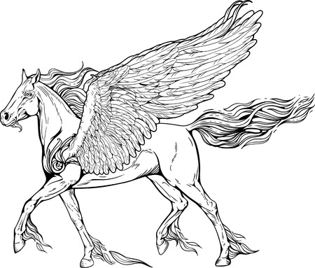 pegasus: Image of pegasus with mane and tail of flames of fire.