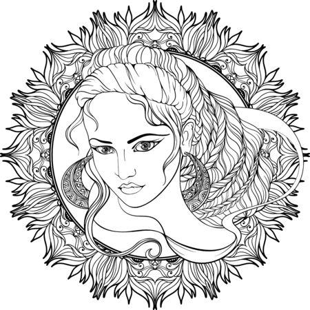 Portrait de jeune fille aux cheveux décorée dans un cadre de fleurs.