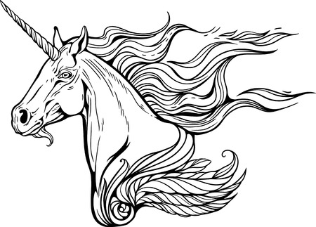 Portrait of unicorn with mane of flames of fire.