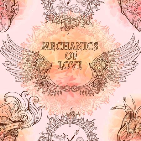 Naadloos patroon van de vleugels, hart en uurwerk in steampunk stijl.