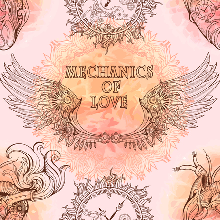 timeless: Seamless pattern of wings, heart and clockwork in steampunk style.