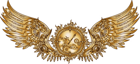 Mechanical wings in steampunk style with clockwork. Gold and black color. 矢量图像