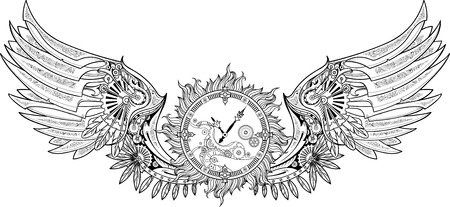 timeless: Mechanical wings made in steampunk style with clockwork. Black and white.
