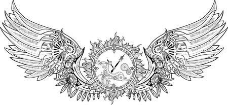 Mechanische vleugels in steampunk stijl met een uurwerk. Zwart en wit.