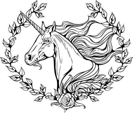 coloring pages to print: Portrait of unicorn in frame of flower branches. Illustration