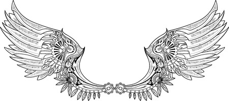 Mechanical wings made in steampunk style. Black and white. Vettoriali