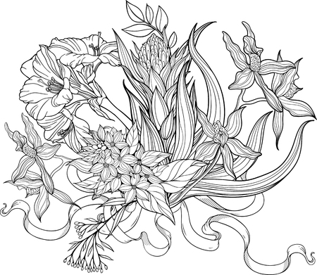 coloring sheets: Image of a bunch of flowers and a stripe. Coloring page.