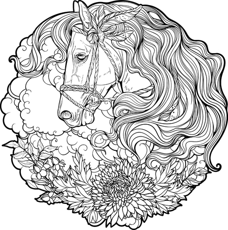 Portrait of a horse with clouds and flowers. Coloring page. Vectores
