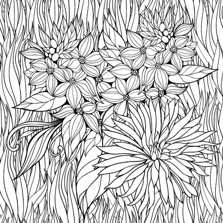 Dibujo Para Colorear Con Muchas Flores Patrón Sin Fisuras