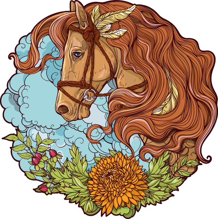 Colorful portrait of a horse with clouds and flowers.
