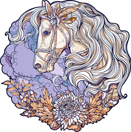 coloring sheet: Colorful portrait of a horse with clouds and flowers in the night Illustration