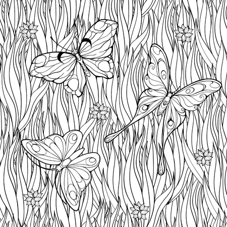 Coloring page with butterflies flying above grass and flowers. Seamless pattern.